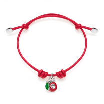 Cotton Cord Bracelet with Left Apple Heart Charm in Sterling Silver and Enamel