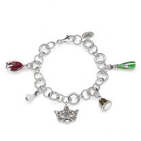 Rolo Luxury Bracelet with Veneto Charms in Sterling Silver and Enamel