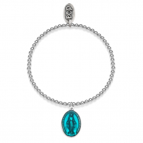 Boule Elastic Bracelet with Miraculous Madonna Charm Silver Sterling and Turquoise Enamel