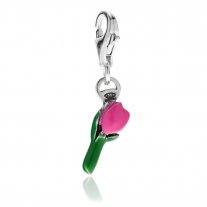 Tulip Charm in Sterling Silver and Pink Enamel