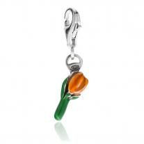 Orange Tulip Charm in Sterling Silver & Enamel