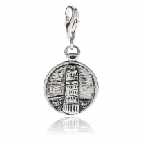 Tower of Pisa Charm in Sterling Silver