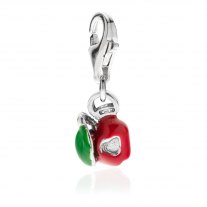 Apple Heart Charm in Sterling Silver and Enamel