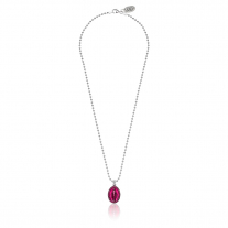 Boule Necklace 45cm with Miraculous Madonna Charm in Sterling Silver and Pink Enamel