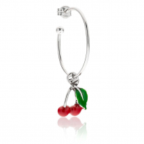 Large Hoop Single Earring with Cherry Charm in Sterling Silver and Enamel