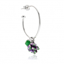 Large Hoop Single Earring with Artichoke Charm in Sterling Silver and Enamel