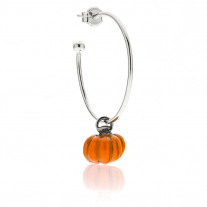 Large Hoop Single Earring with Pumpkin Charm in Sterling Silver and Enamel
