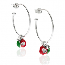 Large Hoop Earrings with Right and Left Apple Heart Charms in Sterling Silver and Enamel