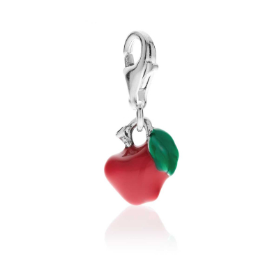 Red Apple Charm in Sterling Silver and Enamel