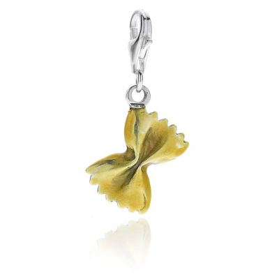 Farfalle Pasta Charm in Sterling Silver and Enamel