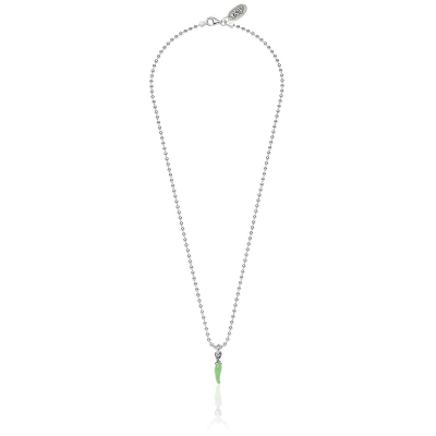 Necklace Boule 45 cm with Mini Chili Pepper Charm in Sterling Silver and Green Enamel