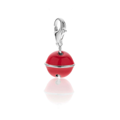 Bell Charm  in Silver and Coral Enamel