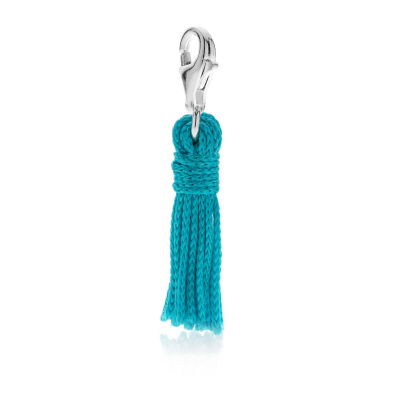 Tassel Charm in Turquoise Cotton and Silver
