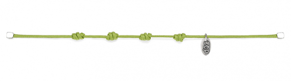 Cotton Cord Bracelet in Apple Green Waxed Cotton and Sterling Silver