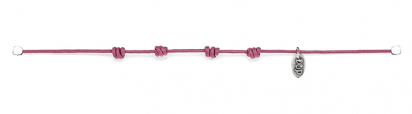 Cotton Cord Bracelet in Pink Waxed Cotton and Sterling Silver