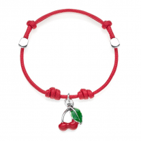 Cotton Cord Bracelet with Cherry Charm in Sterling Silver and Enamel