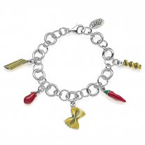 Rolo Premium Bracelet with Pasta Charms in Sterling Silver and Enamel