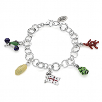Rolo Luxury Bracelet with Sardinia Charms in Sterling Silver and Enamel