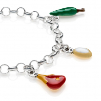 Rolo Light Bracelet with Tuscany Charms in Sterling Silver and Enamel