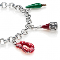 Rolo Premium Bracelet with Tuscany Charms in Sterling Silver and Enamel