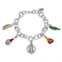 Rolo Luxury Bracelet with Tuscany Charms in Sterling Silver and Enamel