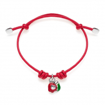 Cotton Cord Bracelet with Right Apple Heart Charm in Sterling Silver and Enamel