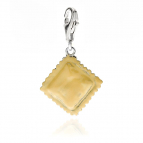 Ravioli Pasta Charm in Sterling Silver and Enamel