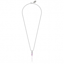Necklace Boule 45 cm with Mini Chili Pepper Charm in Sterling Silver and Lilac Enamel