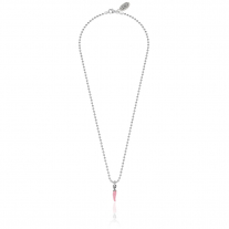 Necklace Boule 45 cm with Mini Chili Pepper Charm in Sterling Silver and Pink Enamel