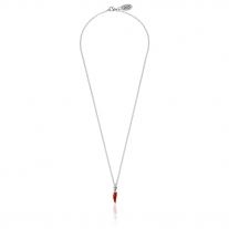 Rolo Micro Necklace 45 cm with Mini Chili Pepper Lucky Charm in Sterling Silver and Red Enamel