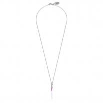 Rolo Micro Necklace 45 cm with Mini Chili Pepper Lucky Charm in Sterling Silver and Lilac Enamel