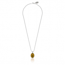 Boule Necklace 45cm with Miraculous Madonna Charm Sterling Silver and Enamel Yellow