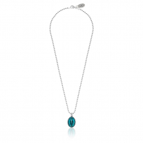 Boule Necklace 45cm with Miraculous Madonna Charm in Sterling Silver and Turquoise Enamel