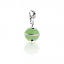 Bell Charm in Sterling Silver and Green Enamel