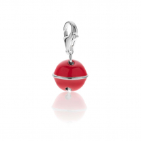 Bell Charm in Sterling Silver and Coral Enamel