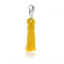 Tassel Charm in Yellow Cotton and Sterling Silver