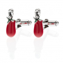 San Marzano Tomato Cufflinks in Sterling Silver and Enamel