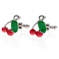 Cherry Cufflinks in Sterling Silver and Enamel