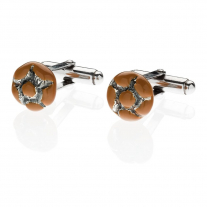 Michetta Bread Cufflinks in Sterling Silver & Enamel