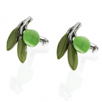 Olive Cufflinks in Sterling Silver and Enamel