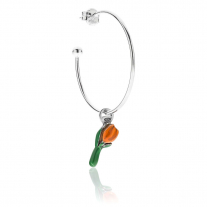 Large Hoop Single Earring with Tulip Charm in Sterling Silver and Orange Enamel
