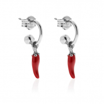 Small Hoop Earrings with Mini Chili Pepper Lucky Charm in Sterling Silver and Red Enamel