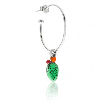 Large Hoop Single Earring with Sterling Silver Prickly Pear Charm and Enamel