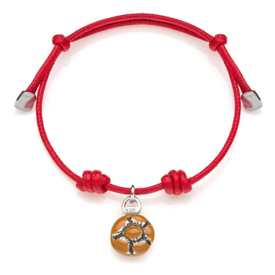 Cotton Cord Bracelet with Michetta Charm in Sterling Silver and Enamel