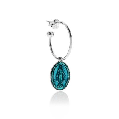 Medium Hoop Single Earring with Miraculous Madonna Charm in Sterling Silver and Turquoise Enamel