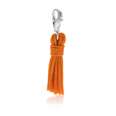 Tassel Charm in Orange Cotton and Silver