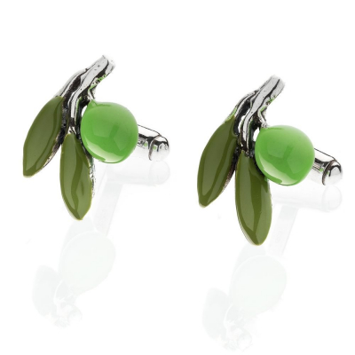 Olive Cufflinks in Sterling Silver & Enamel