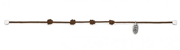 Braun Kordel-Armband Basis gewachste Baumwolle und Silber
