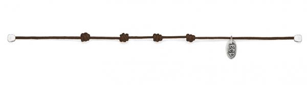 Basis Moka Kordel-Armband gewachste Baumwolle und Silber