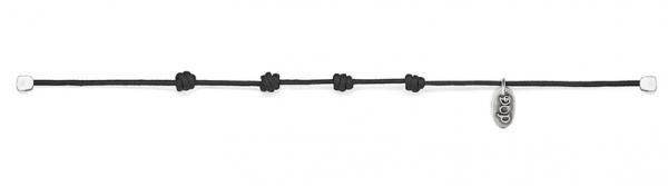 Schwarzer Kordel-Armband Basis gewachste Baumwolle und Silber